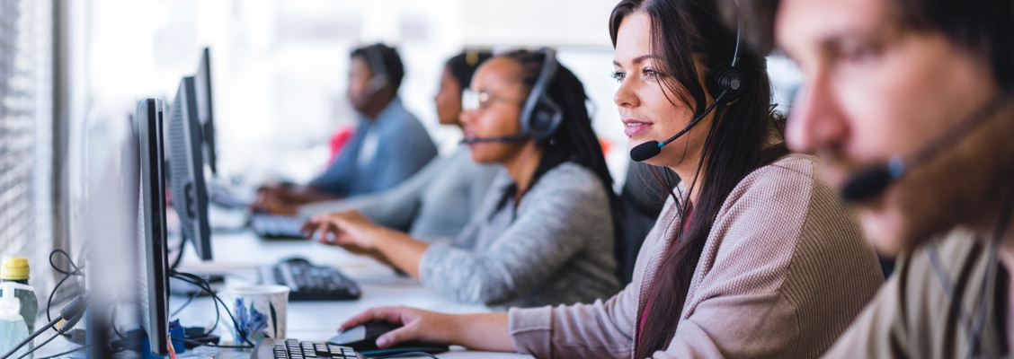Contact centre staff answering calls