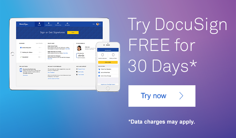Try DocuSign FREE for 30 Days