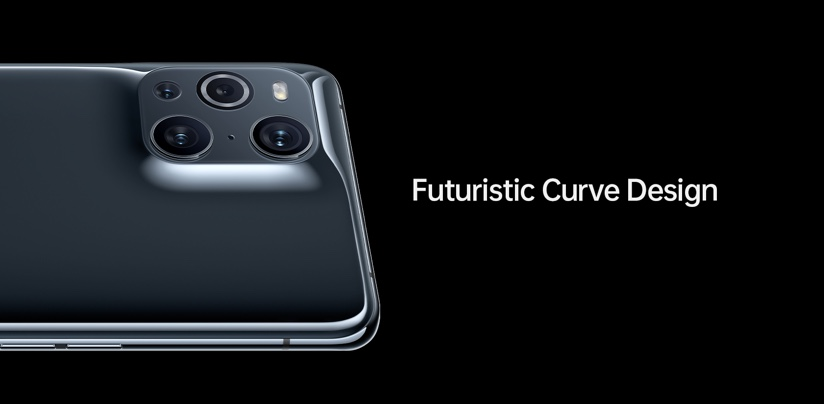 The back of the Oppo X 3 Find, showing the camera array and the phone's futuristic curve design.