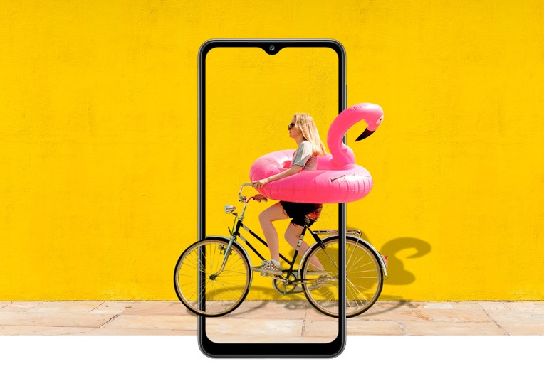 Front view of Galaxy A32 with Women riding bike