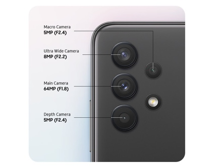 A rear close-up of advanced Quad Camera on the Awesome Black model, showing clear detail with the 48MP Main Camera. Expand the viewing angle with Ultra Wide Camera. Customize focus with Depth Camera, or get closer to the details with Macro Camera.