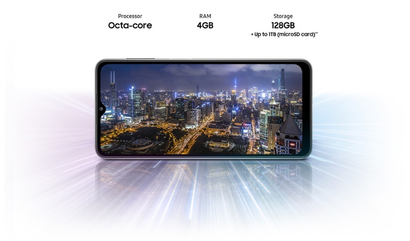 Front view of the Galaxy A32 5G with a city scape image on its screen.