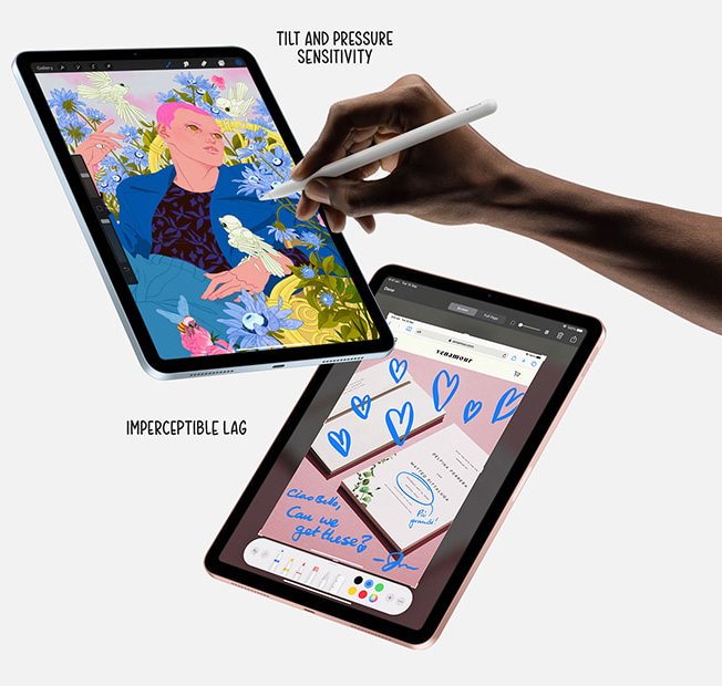 The apple pencil has tilt and pressure sensitivity and imperceptible lag
