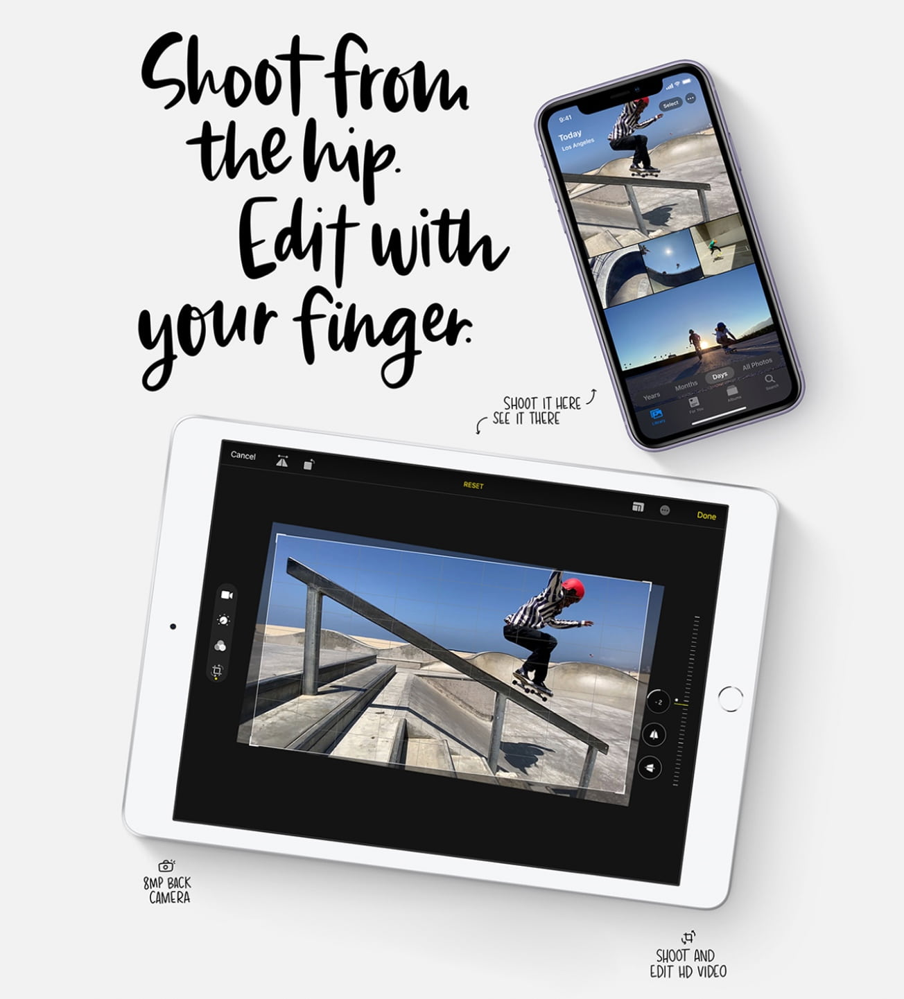 Shoot photos and videos on your iphone, view and edit them on your ipad