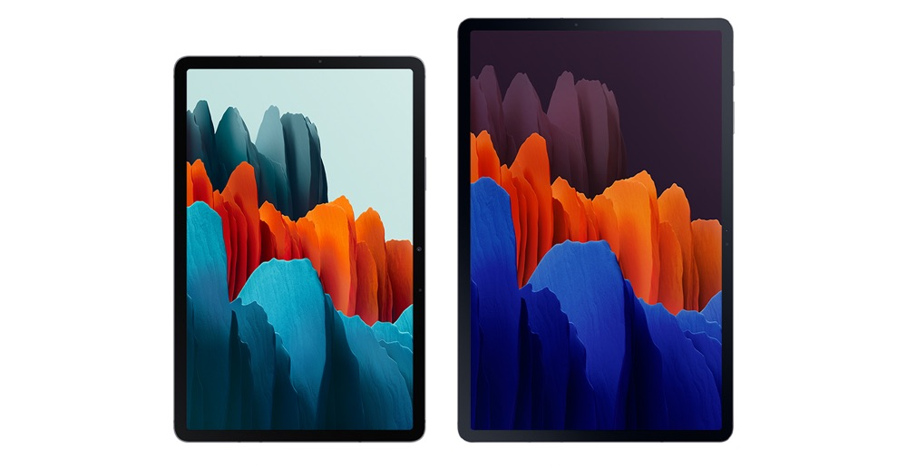 Front view of Galaxy Tab S7 and Galaxy Tab S7+ side by side