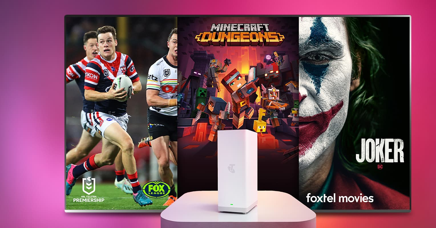 Telstra entertainment options include NRL on Kayo, Minecraft Dungeons on Xbox, and Joker on Foxtel, plus a Telstra Smart Modem for new internet customers.