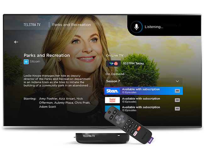 Telstra TV allows you to control your tv using voice