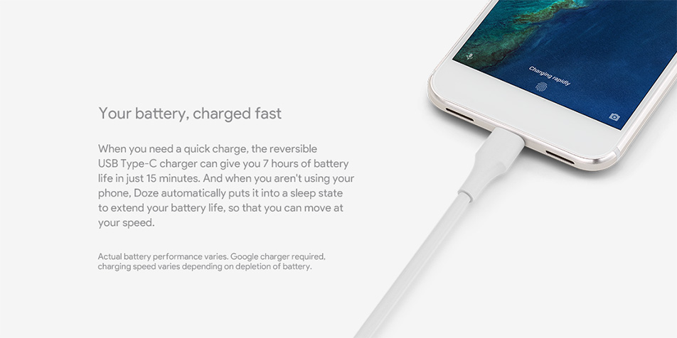 Google Phone - Your battery, charged fast