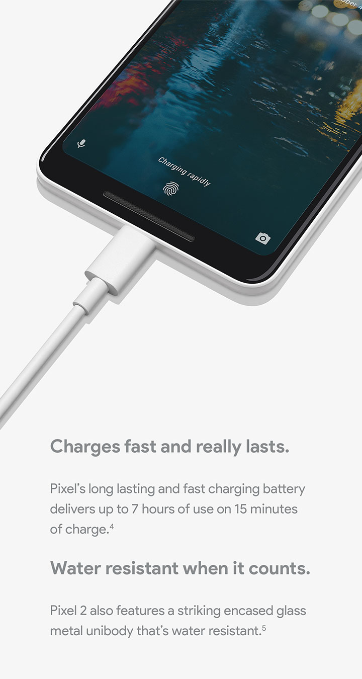 Pixel 2 - Long lasting and fast charging battery