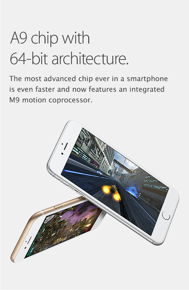 iPhone 6s Plus, A9 chip with 64-bit architecture