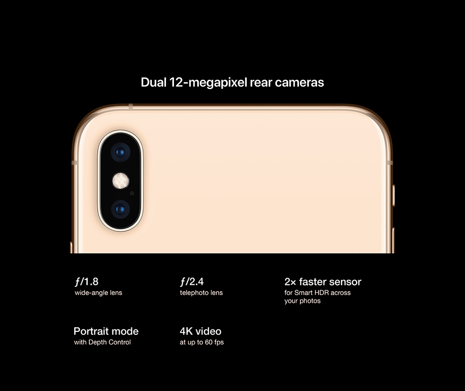 Dual 12-megapixel rear cameras. f/1.8 wide-angle lens. f/2.4 telephoto lens.2x faster sensor for Smart HDR across your photos. Portrait mode with Depth Control. 4K video at up to 60 fps
