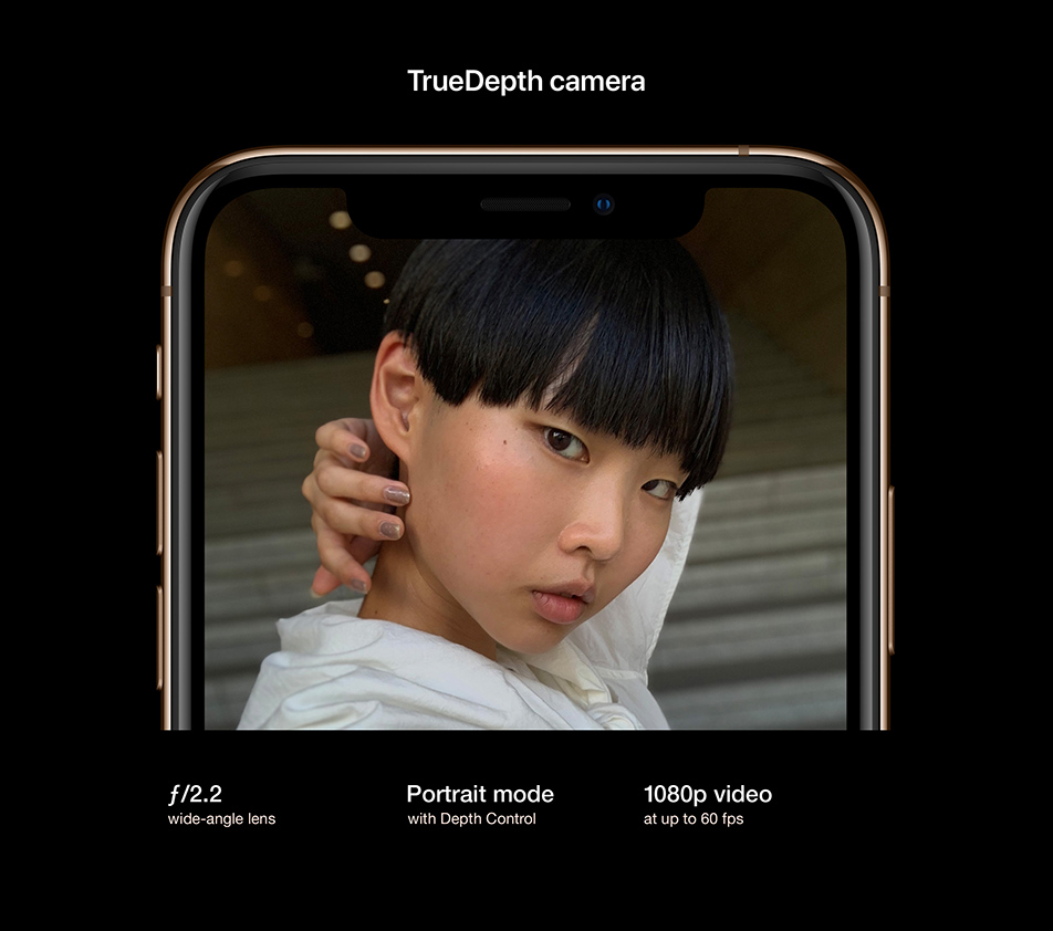 TrueDepth camera. f/2.2 wide-angle lens. Portrait mode with Depth Control. 1080p video at up to 60 fps.