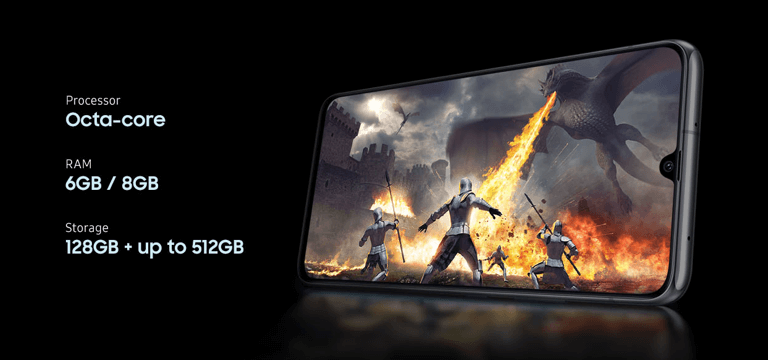 Samsung's Galaxy A90 5G phone with game on screen and lists these features: Octacore processor, 6 or 8 gigabytes of RAM and 128 or 512 Gigabytes of storage.