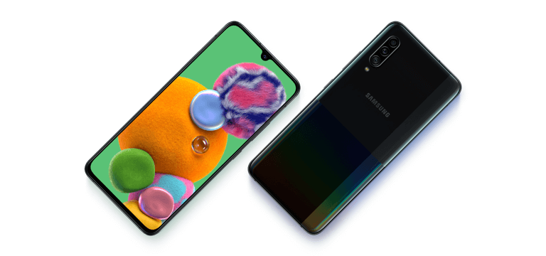 Samsung's Galaxy A90 5G phone showing the front and back view.