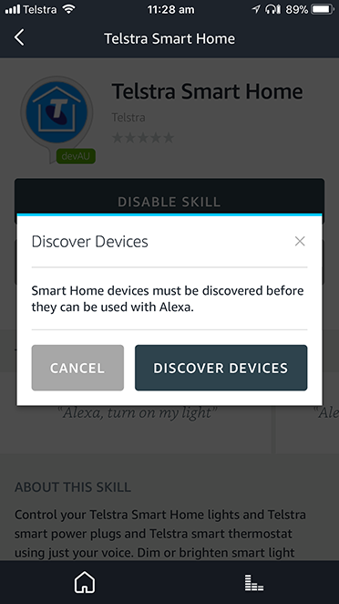 Screen shot of Discover Devices in Alexa mobile app