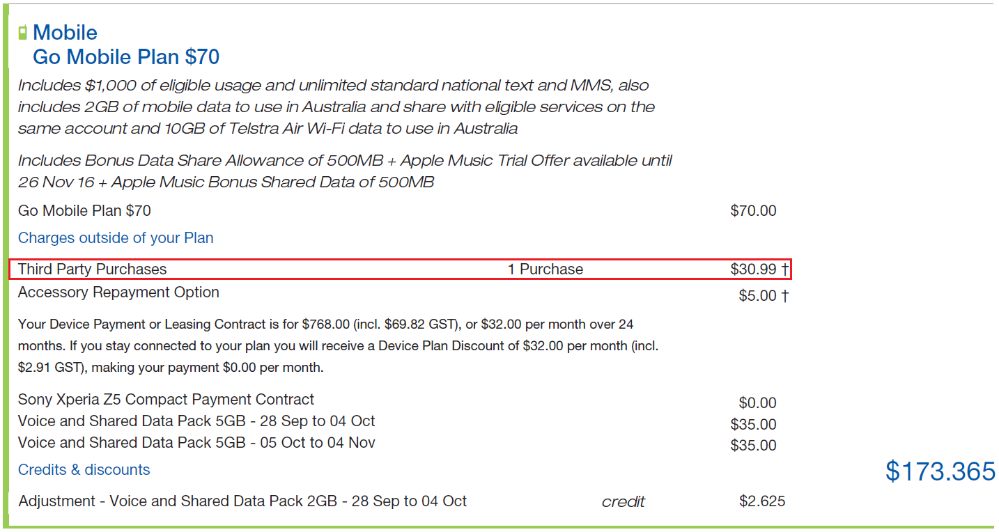 Telstra - Why are there 'third party purchases' on my bill
