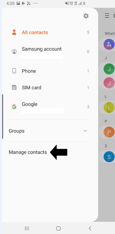 Screenshot showing the Manage contacts link.