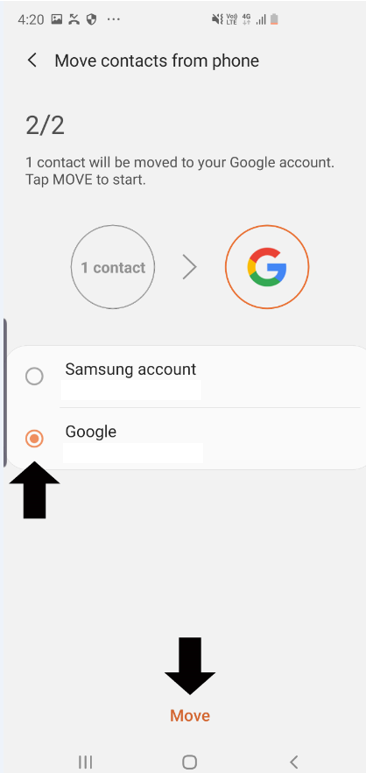 Screenshot showing 1 contact will be moved to the selected Google account.