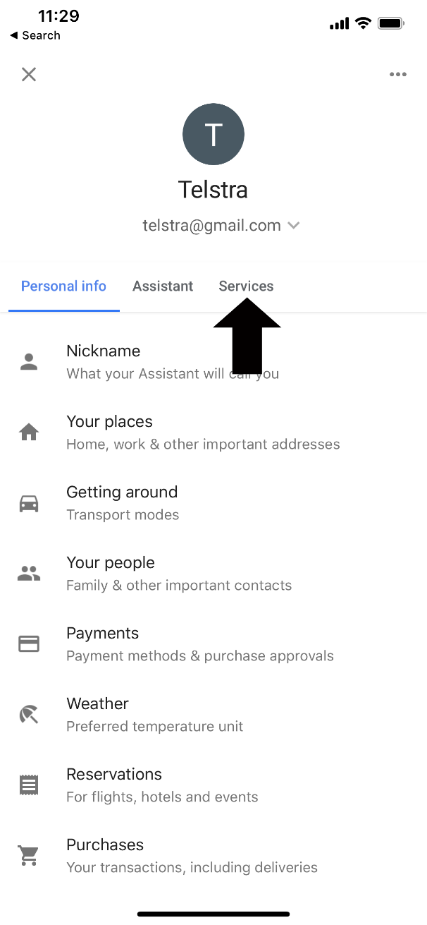 Screenshot showing the Services tap.