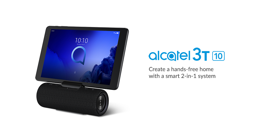Image of the Alcatel 3T 10 attached to its smart speaker