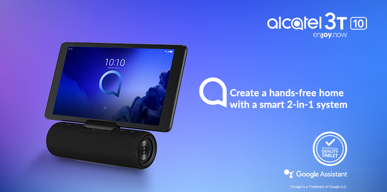 Image of an Alcatel 3T 10 device attached to its smart speaker