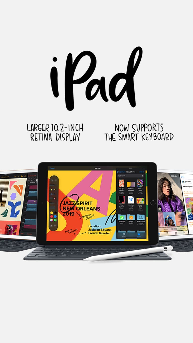 Three iPads opened to display their keyboards and screens, beneath the words,, Larger 10 point 2 inch display. Now supports smart keyboard.
