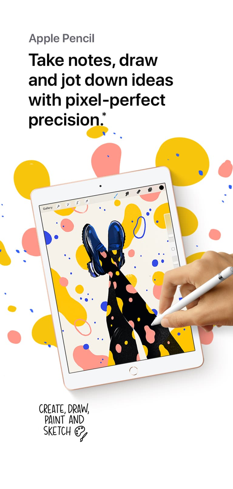 Someone drawing on the iPad screen with an Apple Pencil, beneath the words,, Take notes, draw and jot down ideas with pixel perfect precision.
