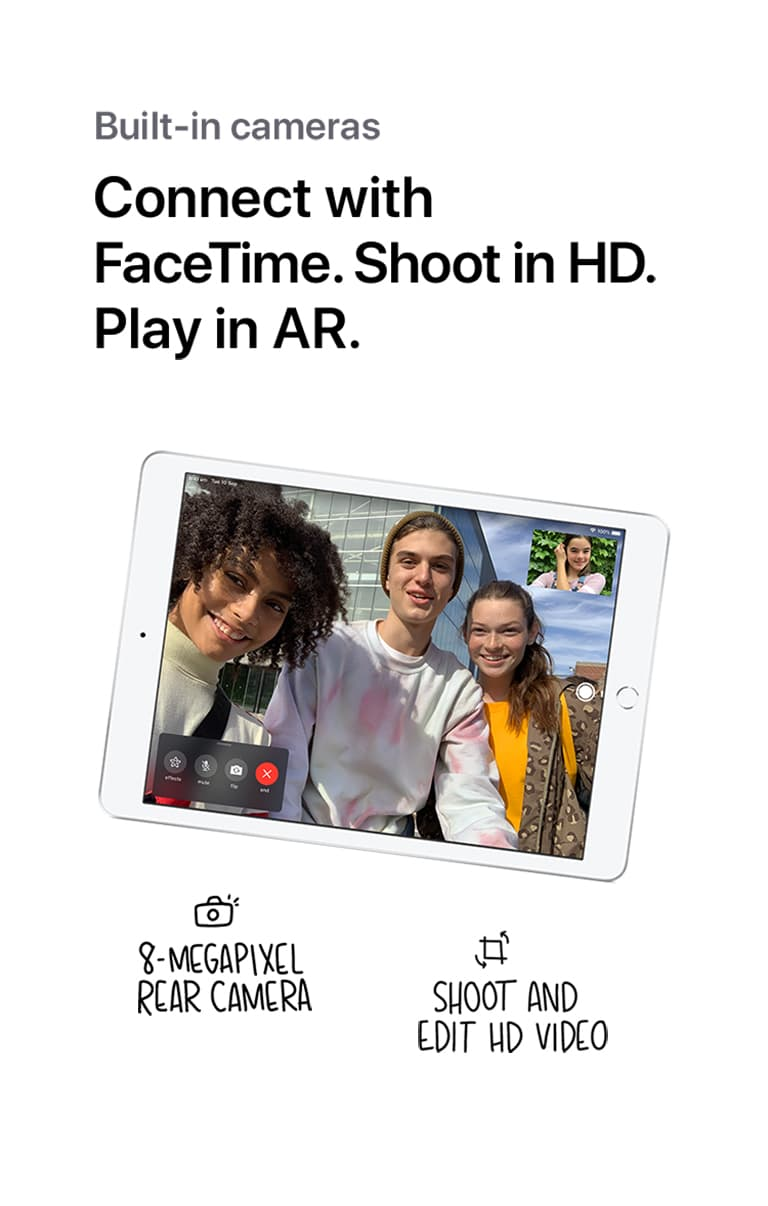 Three friends making a Facetime call on the iPad, beneath the words,, Built in Cameras. Connect with Facetime, Shoot in HD. Play in AR. Followed by the caption,, 8 megapixel rear camera. Shoot and edit HD video.