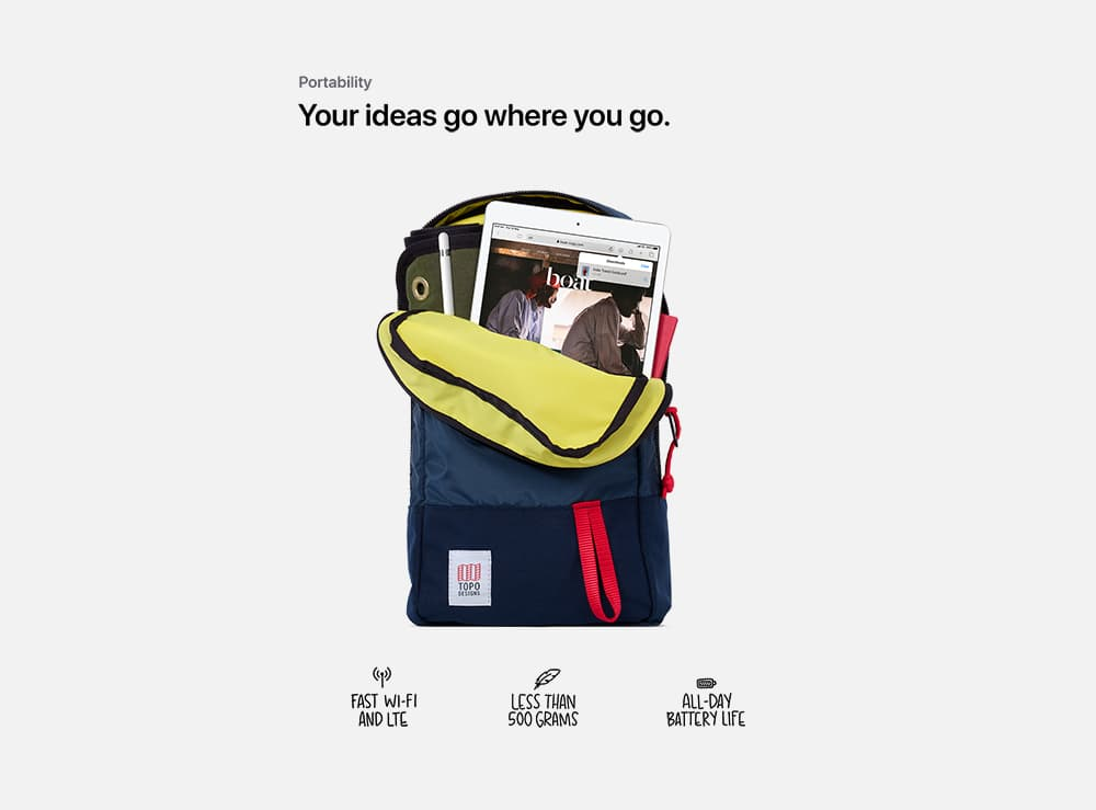 An iPad tucked into a small, designer backpack, beneath the words,, Your ideas go where you go. Followed by the captions,, Fast Wi Fi and L T E,, Less than 500 grams,, All day battery life.
