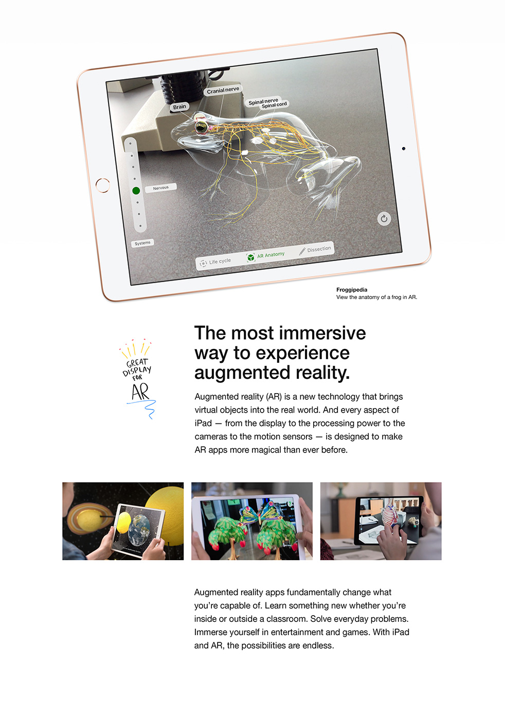 iPad - The most immersive way to experience augmented reality.