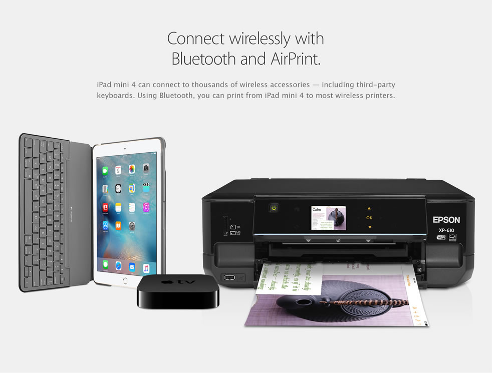 Connect wirelessly with Bluetooth and AirPrint