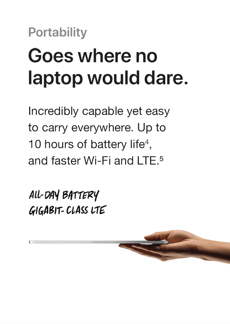 Portability. Goes where no laptop would dare. Incredibly capable yet easy to carry everywhere. Up to 10 hours of battery life and faster Wi-Fi and LTE. All day battery and Gigabit-class LTE