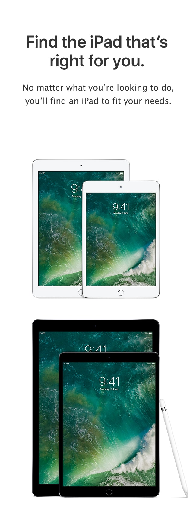 Compare iPads: Find the iPad that's right for you