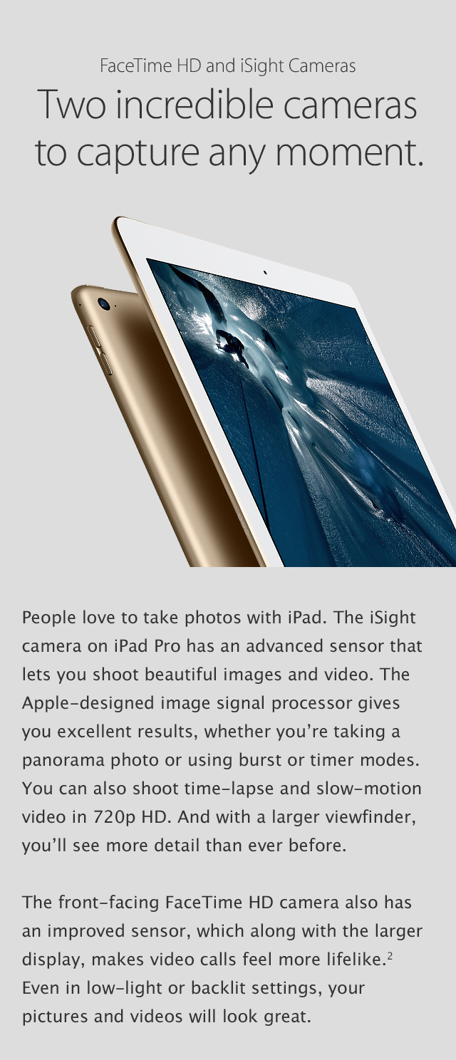 iPad Pro - FaceTime HD & iSight Cameras.