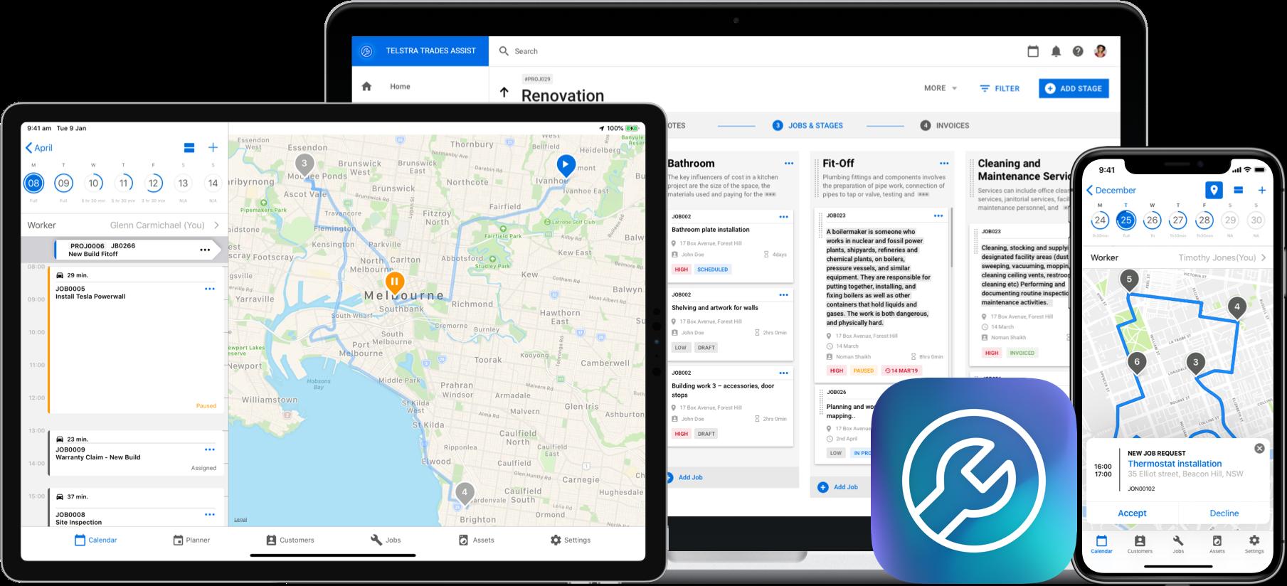 telstra trade assist app