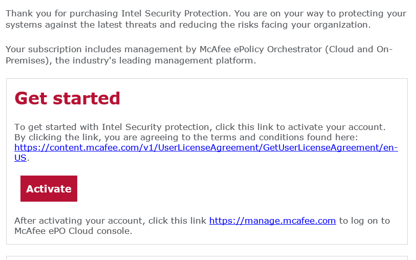 McAfee Endpoint Protection Essential - check your inbox