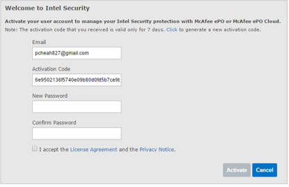 McAfee Endpoint Protection Essential - click activate