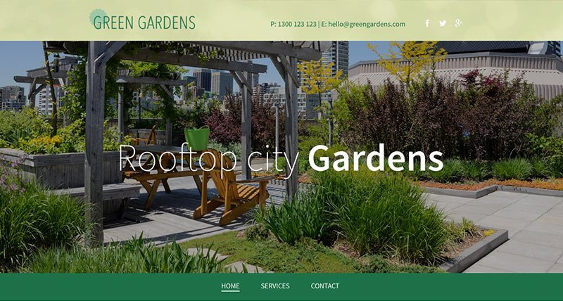 landscape gardening website template preview
