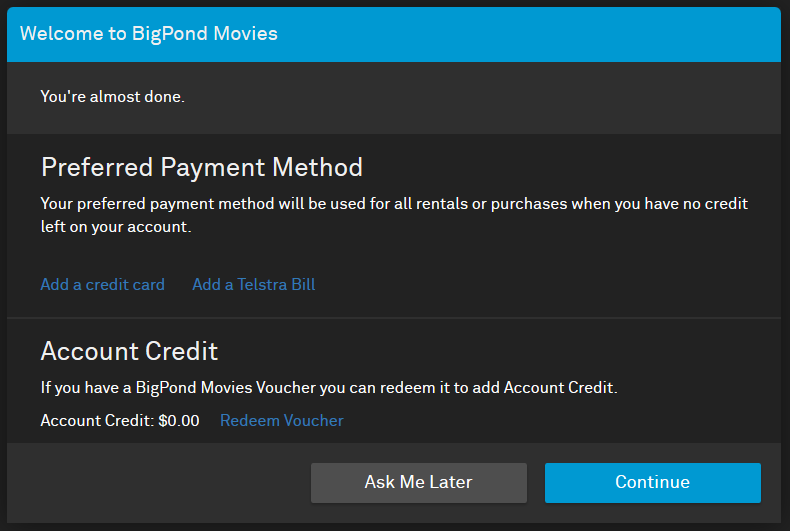 Can I get BigPond Movies without a credit card or Telstra Bill