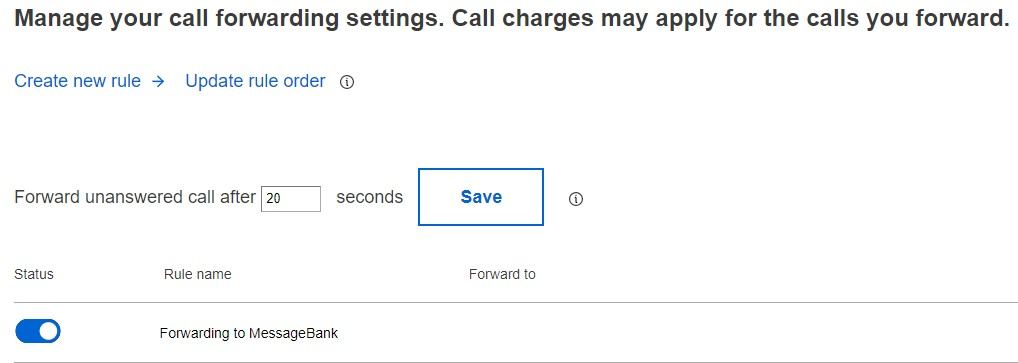 Screenshot of Call Forwarding settings.