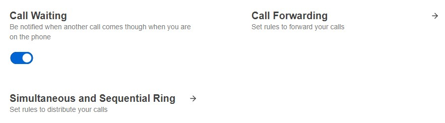 Screenshot of the Call Waiting toggle.